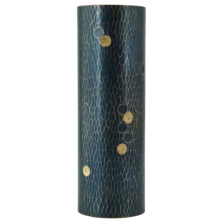 Midcentury Japanese Bronze Hammered Polka-Dotted Vase Meiji Nanbu Cabin Modern For Sale