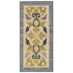 Midcentury Japanese Handwoven Wool Rug in Cream, Blue and Green Floral Design