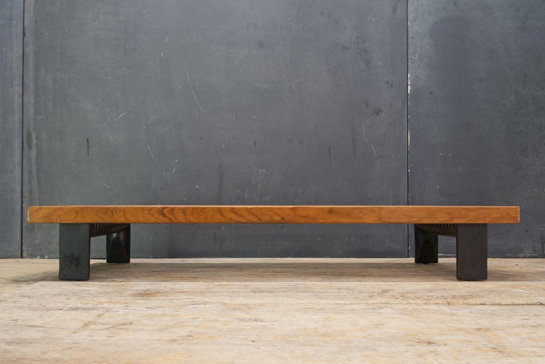 Vintage Japanese Window Style Low Platform Slat Bench