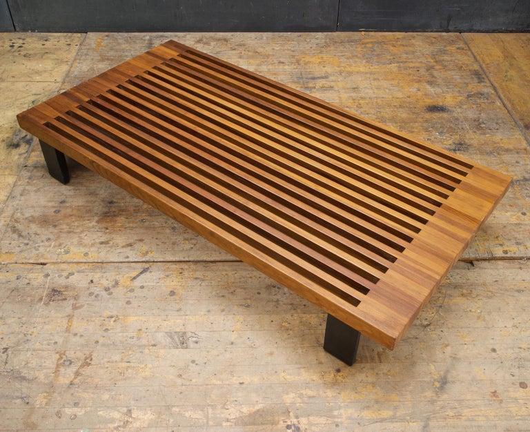Vintage Japanese Window Style Low Platform Slat Bench