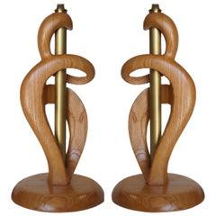 Midcentury Jascha Heifetz Freeform Carved Oak Table Lamp, Pair