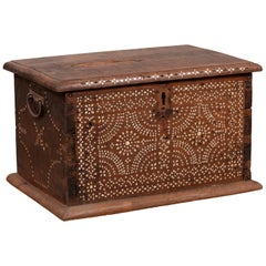 Midcentury Javanese Vintage Wooden Trunk with Mother of Pearl Geometric Inlay