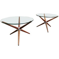 Midcentury Jax Style End Tables of Walnut and Aluminum