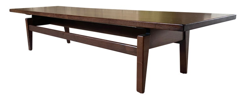 Mid-Century Modern Midcentury Jens Risom Design Walnut Floating Top Coffee Table Bench For Sale