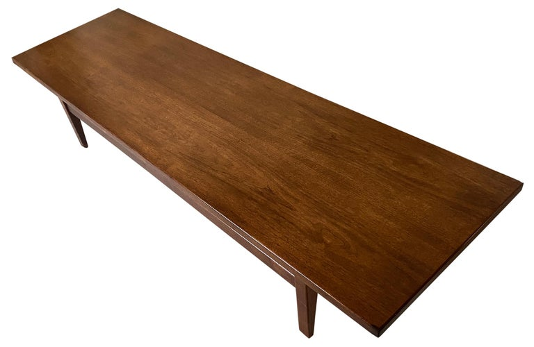 American Midcentury Jens Risom Design Walnut Floating Top Coffee Table Bench For Sale
