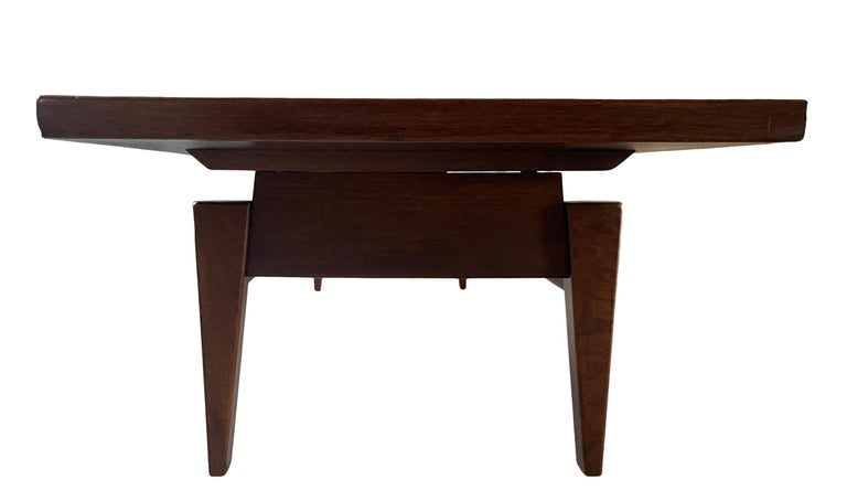 Mid-20th Century Midcentury Jens Risom Design Walnut Floating Top Coffee Table Bench For Sale