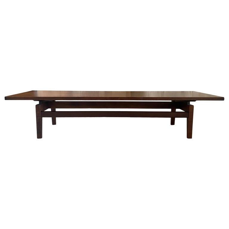 Midcentury Jens Risom Design Walnut Floating Top Coffee Table Bench For Sale