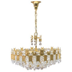 Midcentury Jeweled Crystal Chandelier by Palwa 'Palme & Walter', 1960s