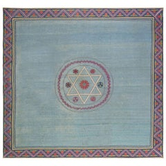 Midcentury Jews David's Star Blue and Red Handwoven Wool Marbadia Rug