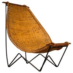 Midcentury John Risley Duyan Sling Lounge Chair in Rattan, Teak and Iron