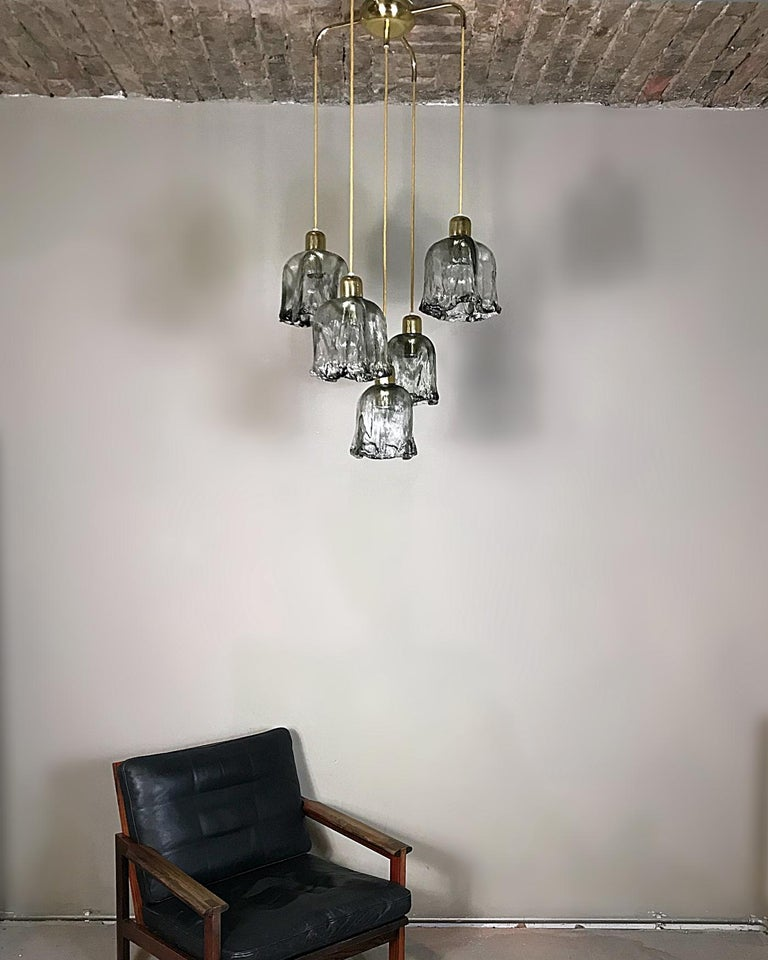 Midcentury Textured Glass and Brass Cascading Light, 1960s, Austria For Sale 3