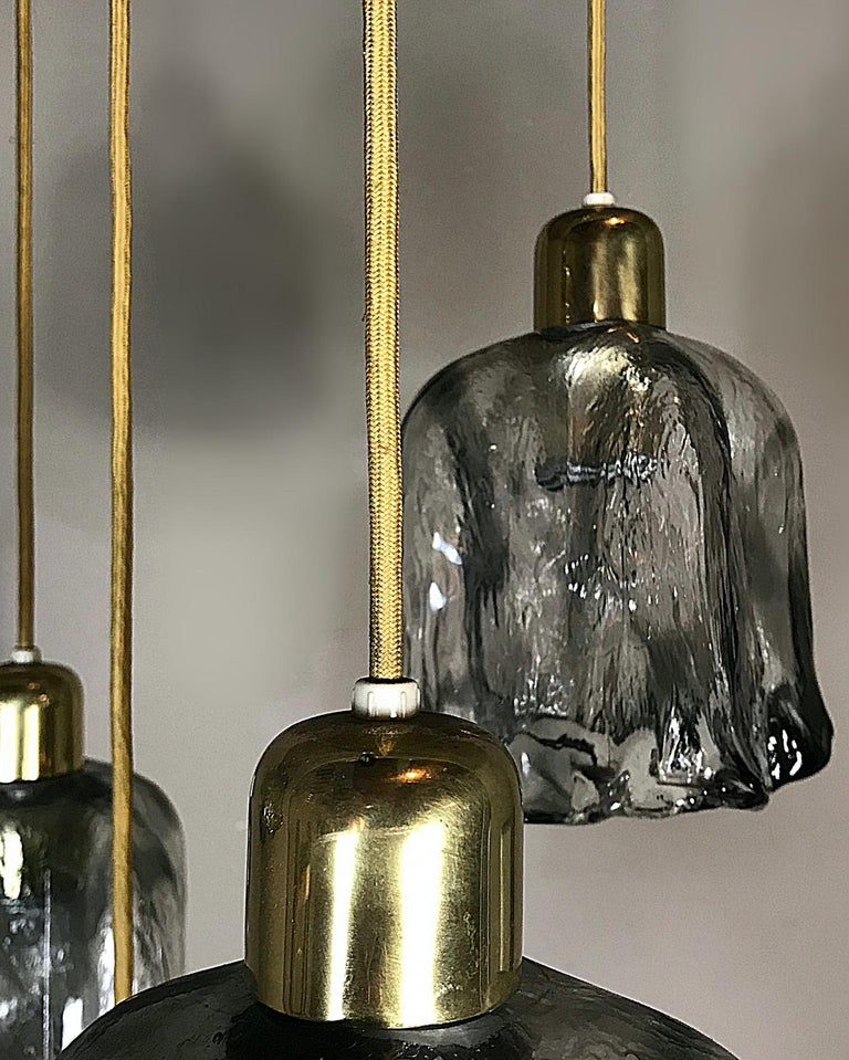 Mid-Century Modern Midcentury Textured Glass and Brass Cascading Light, 1960s, Austria For Sale