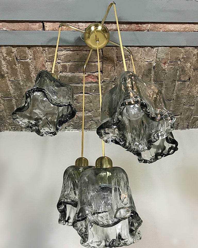 Polished Midcentury Textured Glass and Brass Cascading Light, 1960s, Austria For Sale