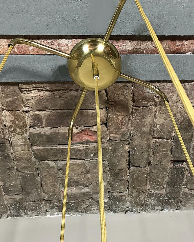 Midcentury Textured Glass and Brass Cascading Light, 1960s, Austria In Good Condition For Sale In Vienna, AT