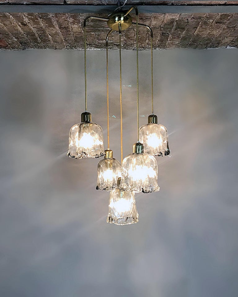 20th Century Midcentury Textured Glass and Brass Cascading Light, 1960s, Austria For Sale