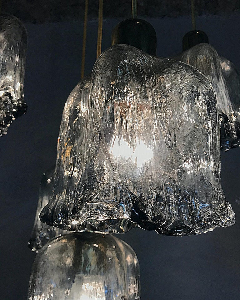 Midcentury Textured Glass and Brass Cascading Light, 1960s, Austria For Sale 2