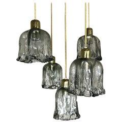 Midcentury Textured Glass and Brass Cascading Light, 1960s, Austria