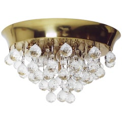 Midcentury Kalmar Brass and Glass Flush Mount with Crystals, Austria 1960s