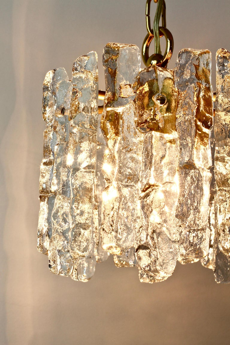 Mid-Century Kalmar Ice Crystal Glass and Brass Pendant Light or Chandelier 1960s For Sale 6