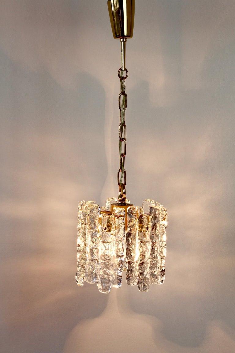 Austrian Mid-Century Kalmar Ice Crystal Glass and Brass Pendant Light or Chandelier 1960s For Sale