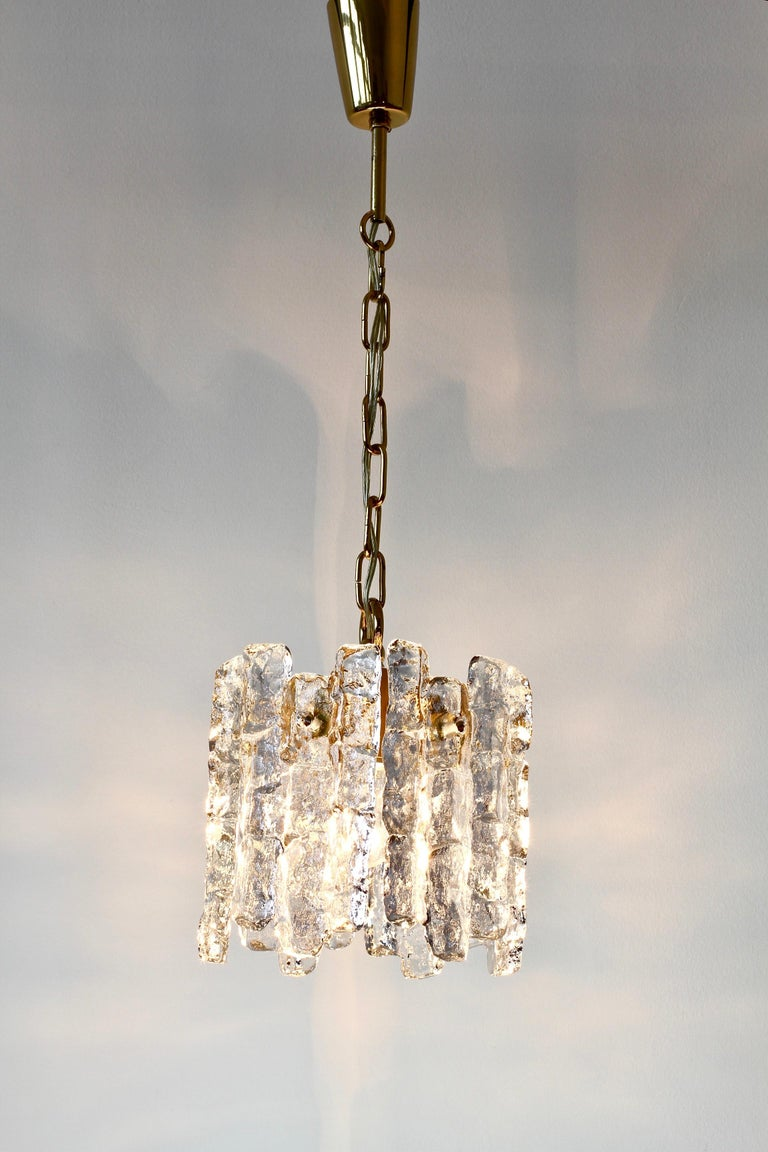Molded Mid-Century Kalmar Ice Crystal Glass and Brass Pendant Light or Chandelier 1960s For Sale