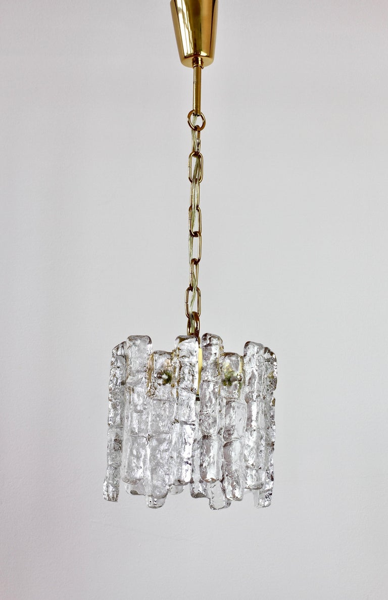 Mid-Century Kalmar Ice Crystal Glass and Brass Pendant Light or Chandelier 1960s For Sale 1
