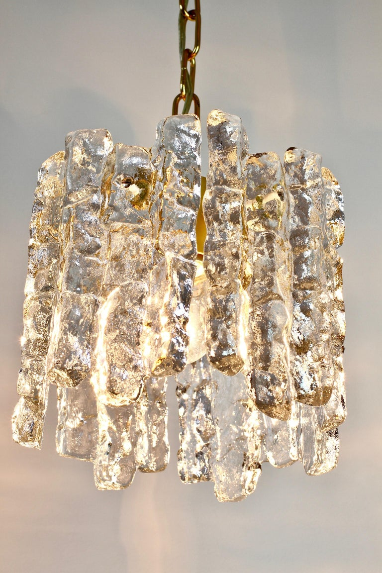 Mid-Century Kalmar Ice Crystal Glass and Brass Pendant Light or Chandelier 1960s For Sale 2