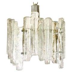 Midcentury Kalmar Ice Glass Chandelier, 1960s