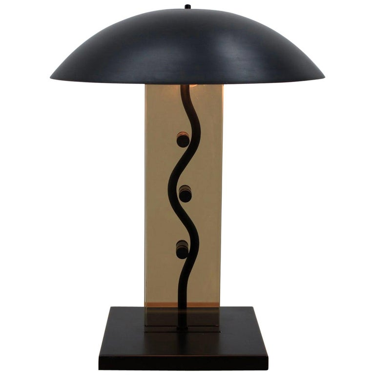 Midcentury Kamenický Šenov Design Table Lamp, 1980s For Sale