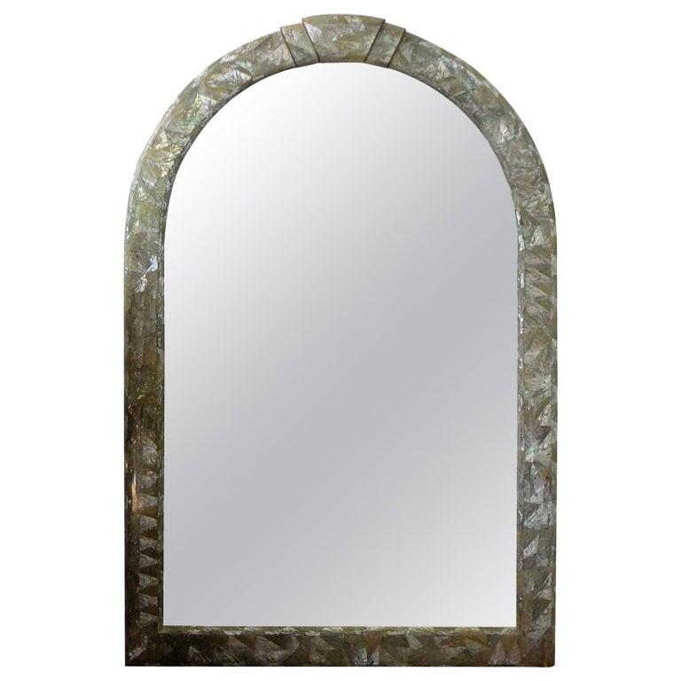 Midcentury Karl Springer Inspired Abalone Mirror For Sale