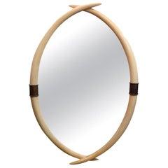 Midcentury Karl Springer Style Faux Tusk Mirror with Brass Keystones