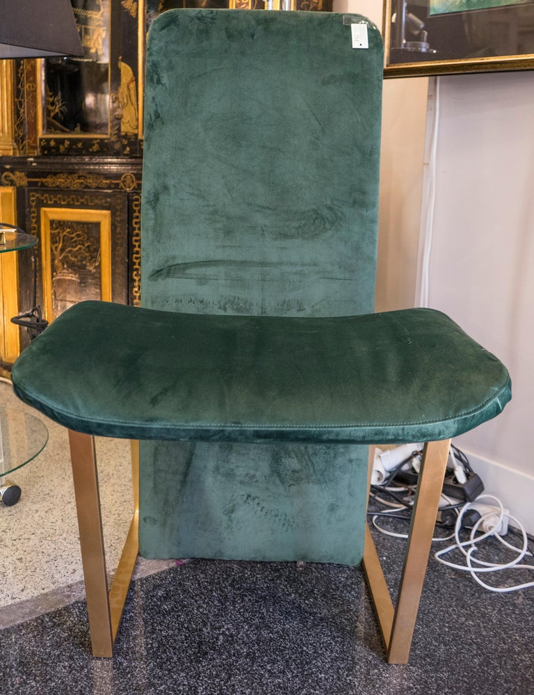 One of a kind couple of chairs in bronze and green velvet upholstery , made sculpturally by the Japanese design Kazuhide Takahama (1930-2019), he was especially a furniture and chandelier designer and he works for Knoll , Gavina and B & B