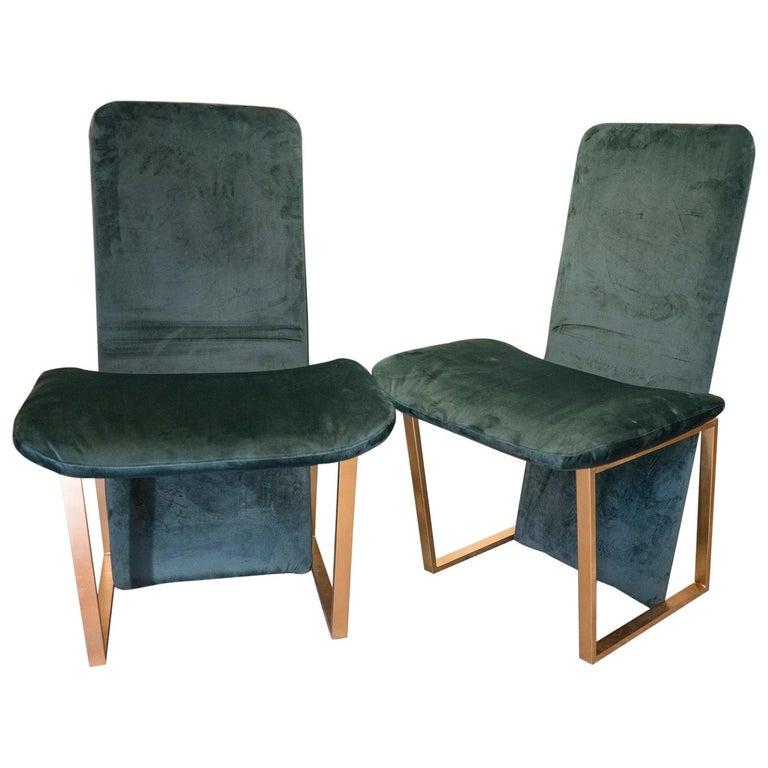 "Midcentury  Couple Chairs Italian Kazuhide Takahama ""Kazuki"" Green and Brass  For Sale"