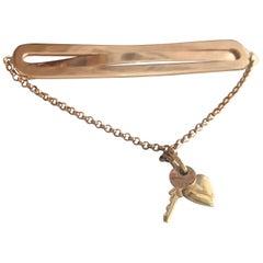 "Midcentury ""Keys to My Heart"" 14-Karat Charm Gold Bar Pin"