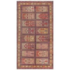 Midcentury Khotan 'Samarkand' Handmade Wool Rug in Purple, Red and Beige