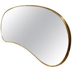 Midcentury Kidney Shaped Brass Mirror