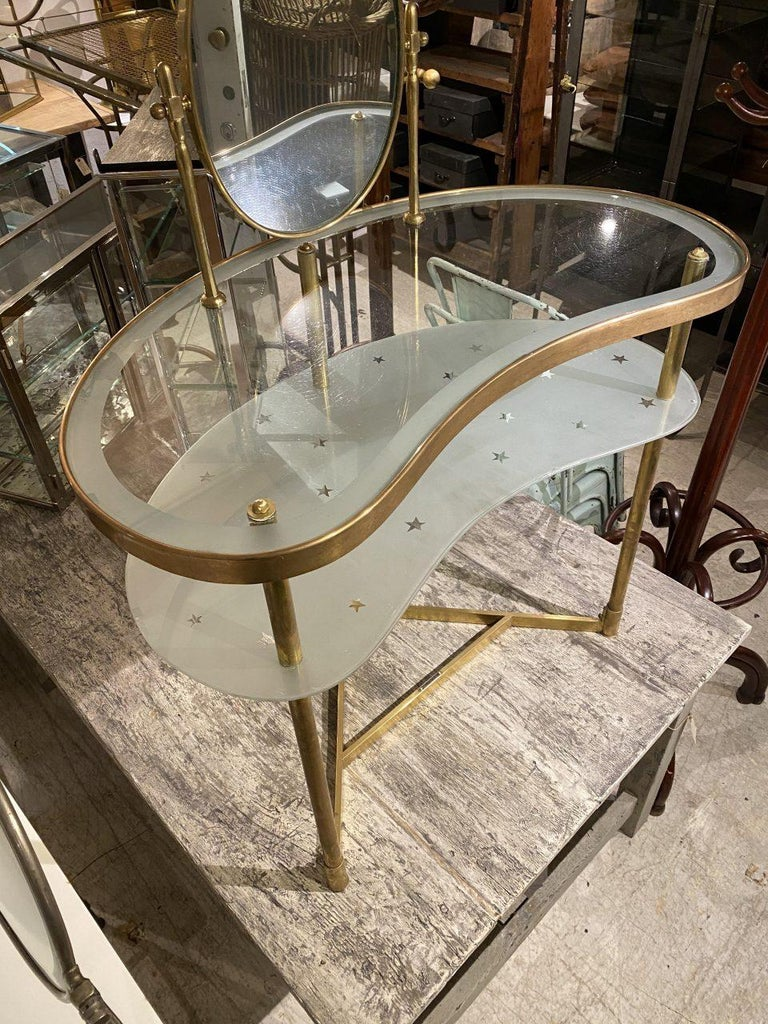 French Midcentury Kidney Shaped Vanity Table, France For Sale