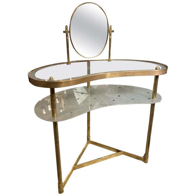 Midcentury Kidney Shaped Vanity Table, France For Sale