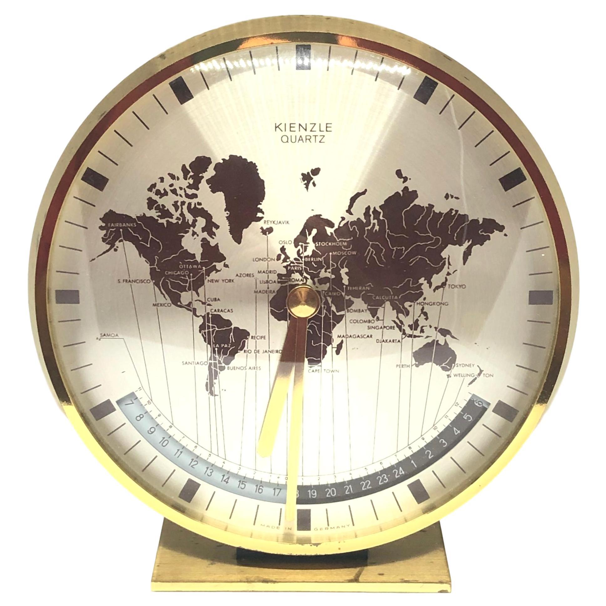 Midcentury Kienzle GMT World Time Zone Brass Table Clock, Germany, 1960s