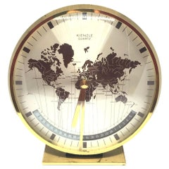 Midcentury Kienzle GMT World Time Zone Brass Table Clock, Germany, 1960s