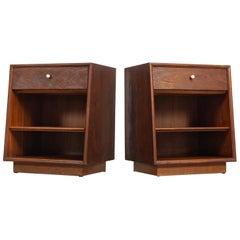 Midcentury Kipp Stewart for Drexel Declaration Wood Nightstand Tables, a Pair
