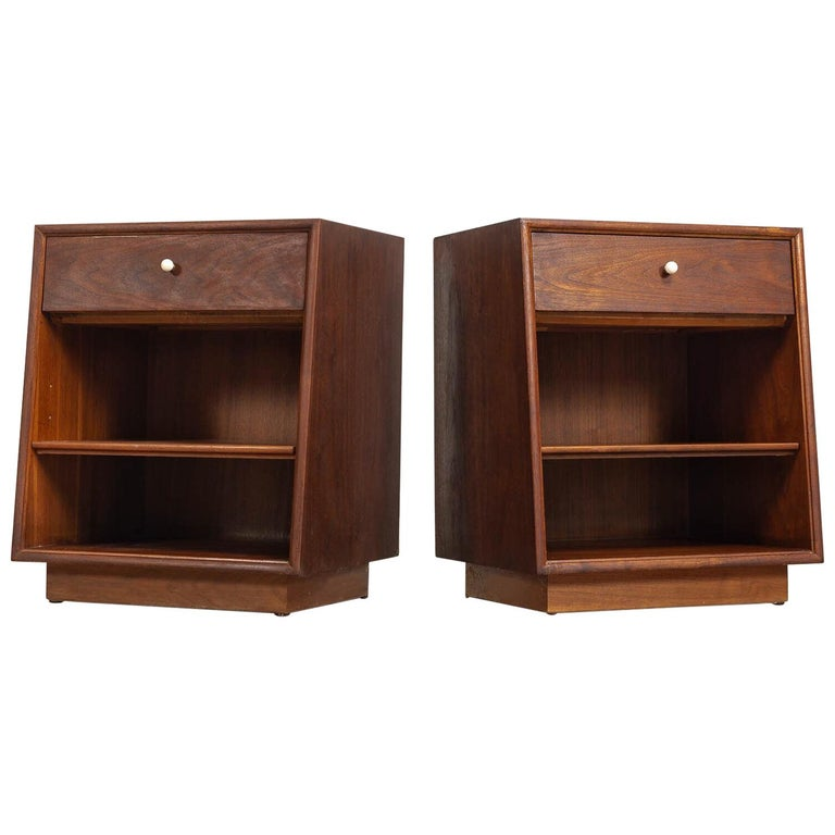 Midcentury Kipp Stewart for Drexel Declaration Wood Nightstand Tables, a Pair For Sale