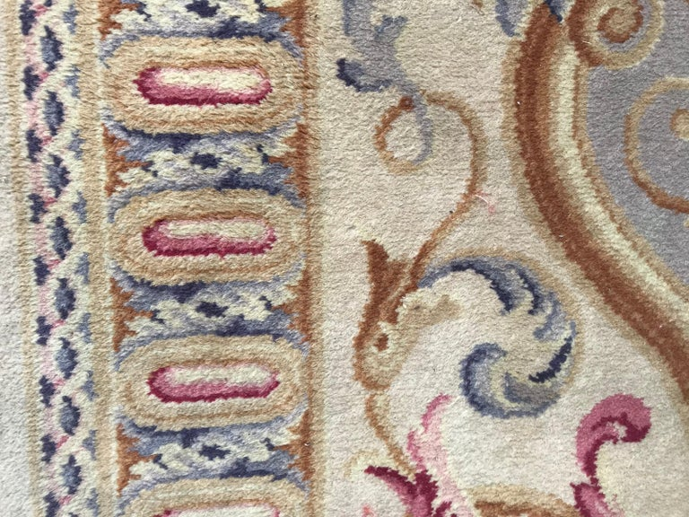 Midcentury Knotted Aubusson Savonnerie Design Rug For Sale 4