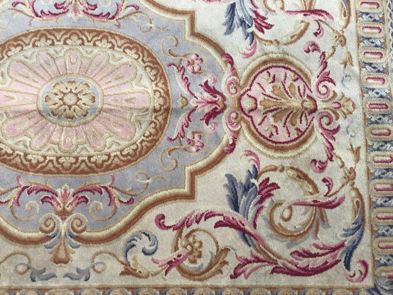 French Midcentury Knotted Aubusson Savonnerie Design Rug For Sale