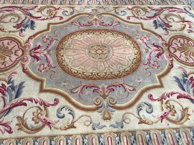 20th Century Midcentury Knotted Aubusson Savonnerie Design Rug For Sale