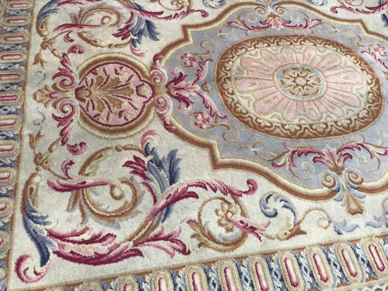 Wool Midcentury Knotted Aubusson Savonnerie Design Rug For Sale