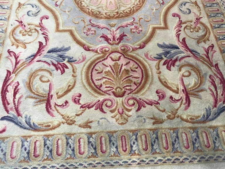 Midcentury Knotted Aubusson Savonnerie Design Rug For Sale 2