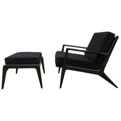 Midcentury Kofod Larsen Selig All Black Lounge Chair with Ottoman Velvet Denmark