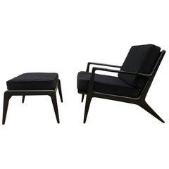 Midcentury Kofod Larsen Selig All Black Lounge Chair with Ottoman Velvet Denmark