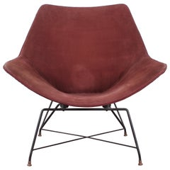 Midcentury Kosmos Armchair A. Bozzi for Saporiti, Plywood Metal and Velvet 1950s